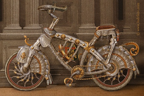 Medieval Knight's steel bike from Chateau-Gaillard castle