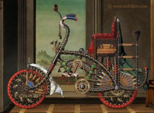 Paintingof a Medieval Knight's steel bike