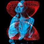 """Stunning model and a butterfly. Red and blue photo installation by French duo """"Helmo"""" Thomas Couderc and Clement Vauchez"""