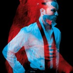 """A bear and a man. Red and blue photo installation by French duo """"Helmo"""" Thomas Couderc and Clement Vauchez"""