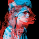"""Leopard and a girl. Red and blue installation by French duo """"Helmo"""" Thomas Couderc and Clement Vauchez"""