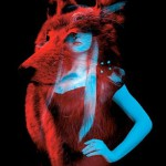 """A wolf and a model. Red and blue installation by French duo """"Helmo"""" Thomas Couderc and Clement Vauchez"""