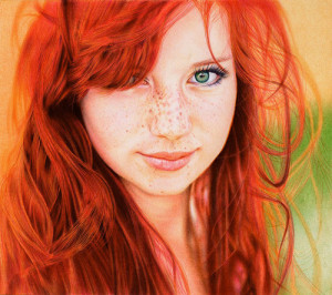 Red-haired girl. Photo realistic drawing by Portuguese artist Samuel Silva