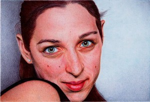 Female portrait. Photo realistic drawing by Portuguese artist Samuel Silva