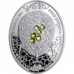 """The third coin in a series of """"Imperial Faberge eggs"""" is a """"clover egg"""" (a variant of silver), designed by Robert Kotovich."""