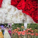 Collage of Flower Dresses during the fashion show in Moscow