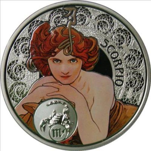 Alphonse Mucha illustrations on coins, issued on an island of Niue