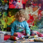Colorful abstract paintings by Australian-Russian 5 year-old artist Aelita Andre