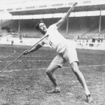 Javelin-throwing. Swedish athlete Eric Lemming