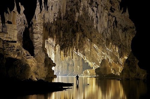 A cave pendulite hangs in Tham Pha Mon cave in Pang Mapha, Thailand.