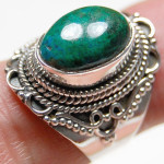 Silver and malachite massive ring