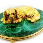 gold dog on malachite base