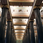 Two rows of monolithic columns of Serdobol granite