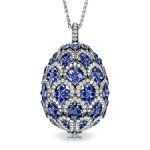 Named after the beautiful Princess Zinaida Yusupova, these striking and opulent jewelled egg lockets are designed in the style of traditional Uzbek textiles, their intricate geometric patterns set with diamonds and intense coloured gems