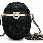 Ferragamo Egg shaped handbag framed in gold and presented in embroidered black on black is exquisite. fabergé egg: balmain fall 2012