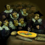 Anatomy Lesson of Dr. Nicolaes Tulp by Rembrandt from vegetables. Famous works of pictorial art appear in a new form – paintings and compositions made from food