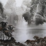 Morning mist. Lifting black ink, or Sui-boku-ga Chinese technique of painting. Artist Elf-archer