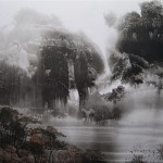 Misty morning. Lifting black ink, or Sui-boku-ga Chinese technique of painting. Artist Elf-archer