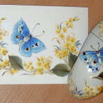 Decorative painting, Blue butterfly mouse pad and mouse