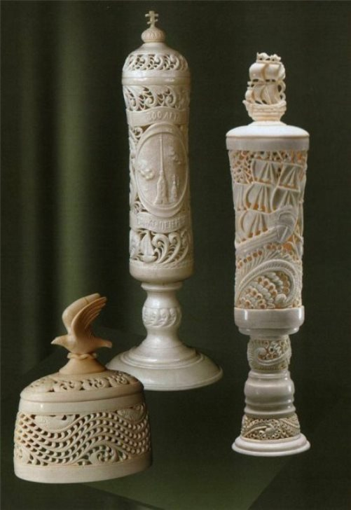 Traditional Russian craft Kholmogory bone carving