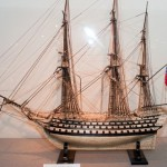 Exhibited in the Museum British Navy ship model of human bones