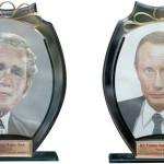Bush vs Putin. Unique painting by Vietnamese artist Y Lan