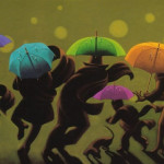 Hurrying people with umbrellas