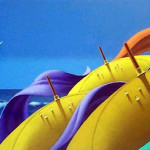 At the seaside. The Umbrellas in painting by Canadian artist Claude Theberge