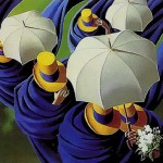 Yellow hats. The Umbrellas in painting by Canadian artist Claude Theberge