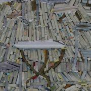 Closeup - wood-wrapped Newspaper Mosaics by Korean artist Lee Kyu-Ha