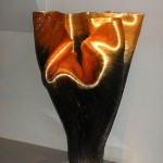 Beautiful glass thread vase by American glass artist Mary Ann Toots Zynsky