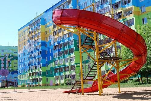 Colorful houses of Ramenskoye