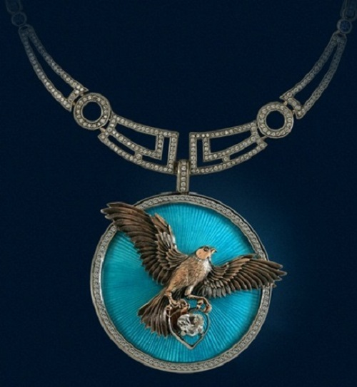Falcon necklace - a unique handmade jewelry, combining a bright colorful design and superior technology of jewelry. Jewelry art by Igor Orlov