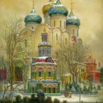 Cathedral, painting on lacquer box