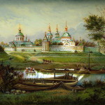 Panoramic view, painting on lacquer box