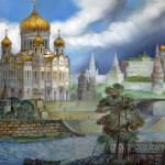 Kremlin and Gold domes of Russia – painting on lacquer box