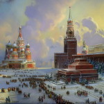 Red Square. Painting on lacquer boxes. The work of Fedoskino artists