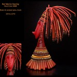 Red warrior dancing head cone. Glass art by Jenny Pohlman and Sabrina Knowles