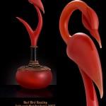 Red bird resting. Blown and sculpted glass art