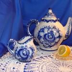 Tea pot and Creamer, Gzhel