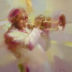 pink and white. Painting from the series 'Jazz' by Russian artist Denis Oktyabr