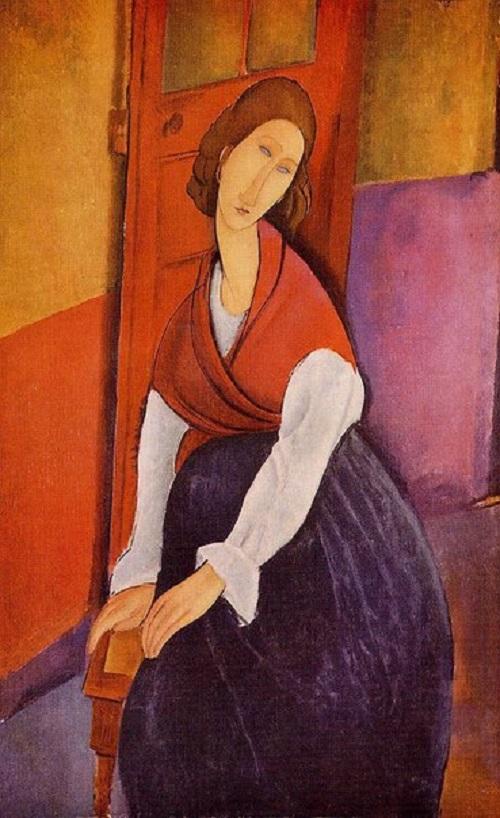 Jeanne Hebuterne in a red shawl 1919
