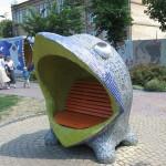 A little whale sculpture. Landscape alley urban project by sculptor Konstantin Skretutsky