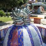 Two zebra heads – fountain. Landscape alley urban project by sculptor Konstantin Skretutsky