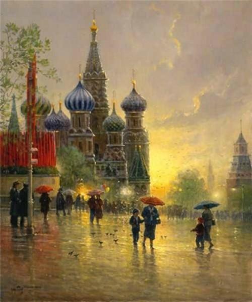 Light Rain on Red Square, 1996. Gerald Harvey Jones painting rain