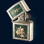 Lighter with luxurious representative mechanism Zippo. Silver casing encrusted gold St. George on hot enamel
