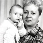 Maria Sharapova, aged one, with her grandmother in Siberia