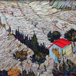 Landscape with House and Ploughman, 1889. Recreation of famous paintings in wood-wrapped Newspaper Mosaics by Korean artist Lee Kyu-Hak
