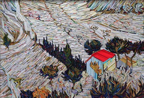 Recreation of famous paintings in wood-wrapped Newspaper Mosaics by Korean artist Lee Kyu-Hak