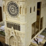 The detailed model of Notre Dame Cathedral. Matchstick architecture by American artist Patrick Acton